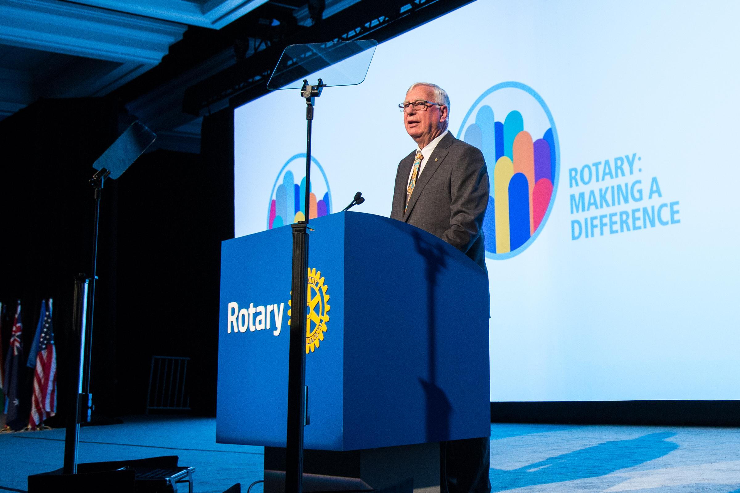 2017-18 RI President Ian H.S. Riseley announces his presidential theme, Rotary: Making a Difference