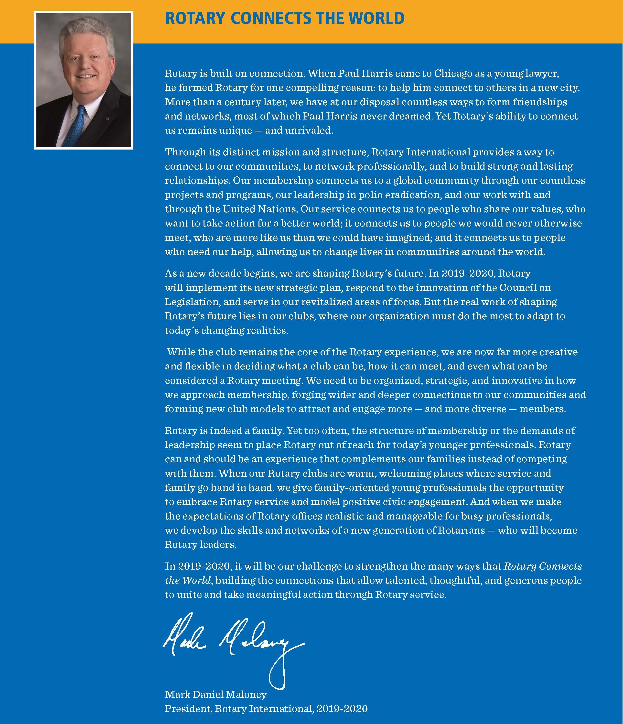 WEBSITE-President Mark Maloney Presidential-message
